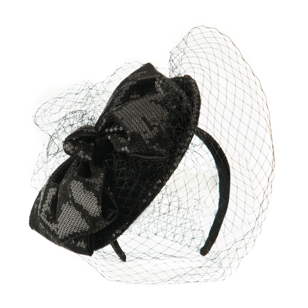 Wool Felt Sequin Fascinator with Netting - Black - Hats and Caps Online Shop - Hip Head Gear