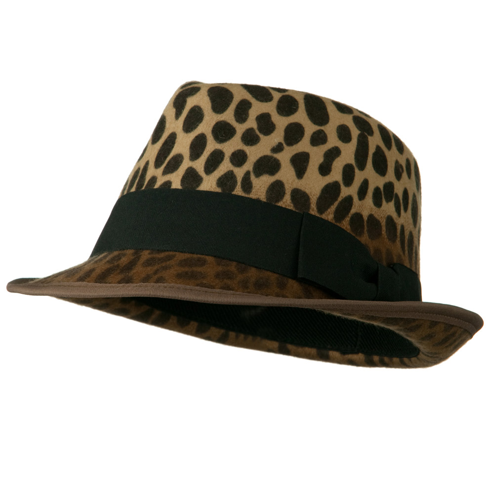 Woman's Animal Print Striped Ribbon Fedora Hat - Leopard Black - Hats and Caps Online Shop - Hip Head Gear