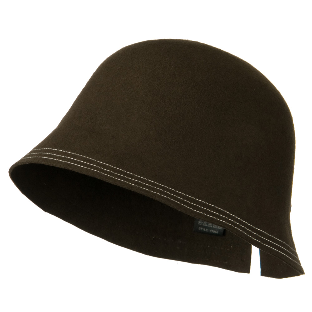 Wool Felt Stitched Hat with Buckle - Brown - Hats and Caps Online Shop - Hip Head Gear