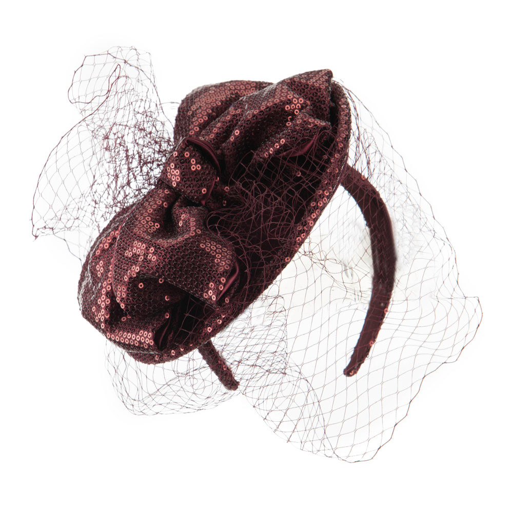 Wool Felt Sequin Fascinator with Netting - Burgundy - Hats and Caps Online Shop - Hip Head Gear