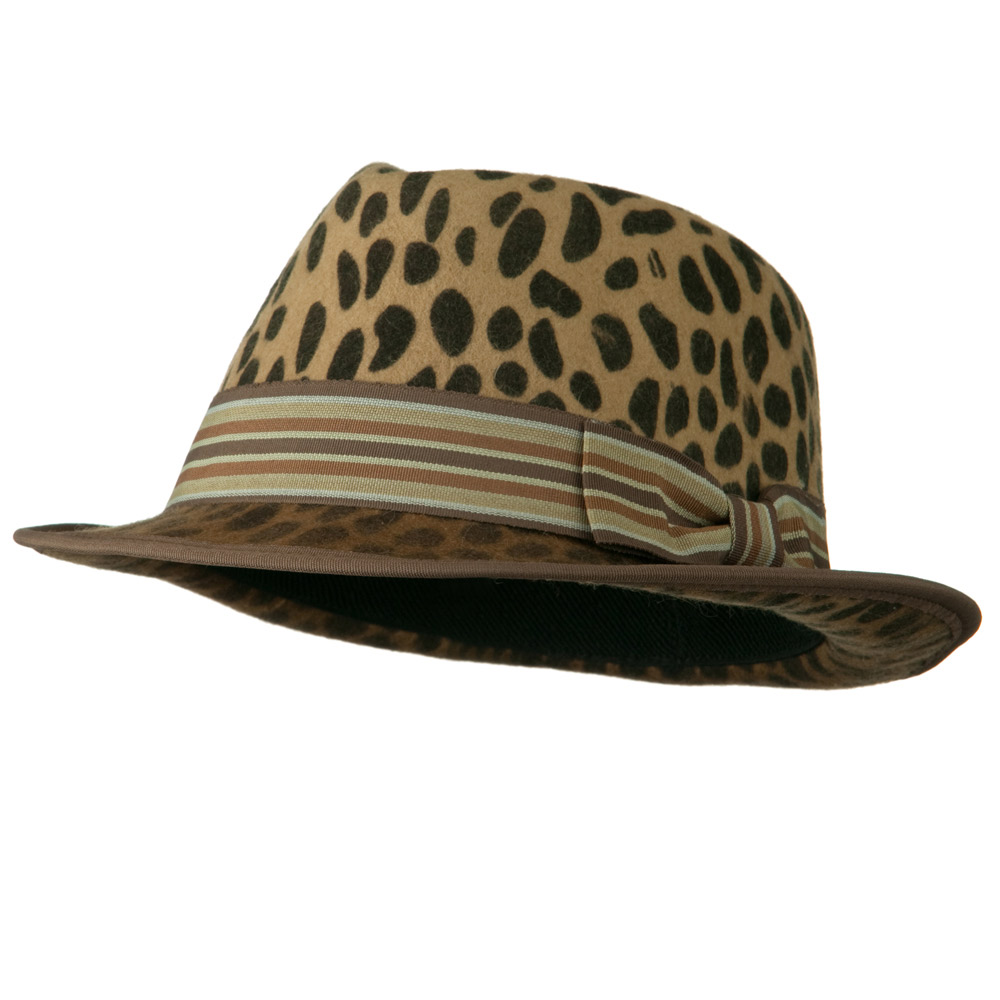 Woman's Animal Print Striped Ribbon Fedora Hat - Leopard - Hats and Caps Online Shop - Hip Head Gear
