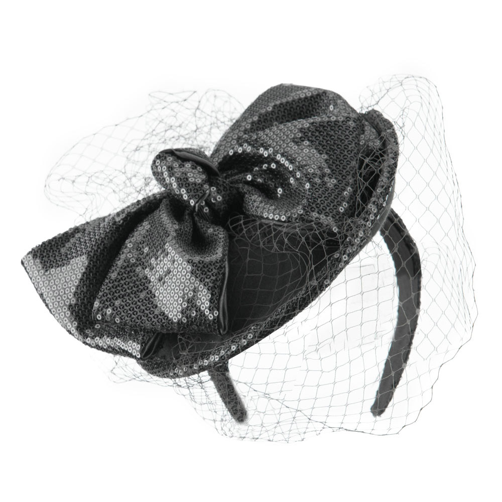 Wool Felt Sequin Fascinator with Netting - Grey - Hats and Caps Online Shop - Hip Head Gear