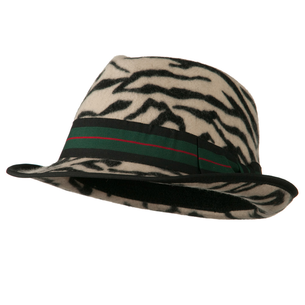 Woman's Animal Print Striped Ribbon Fedora Hat - Zebra - Hats and Caps Online Shop - Hip Head Gear