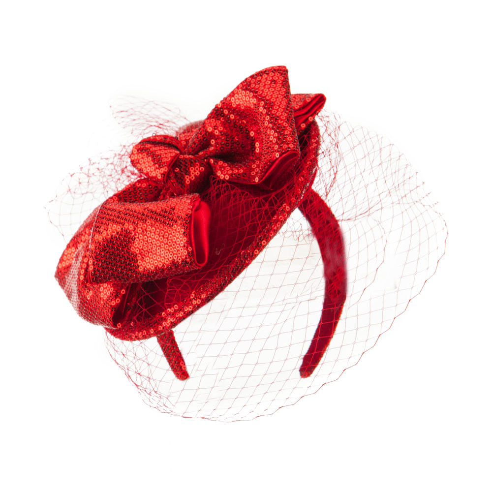 Wool Felt Sequin Fascinator with Netting - Red - Hats and Caps Online Shop - Hip Head Gear