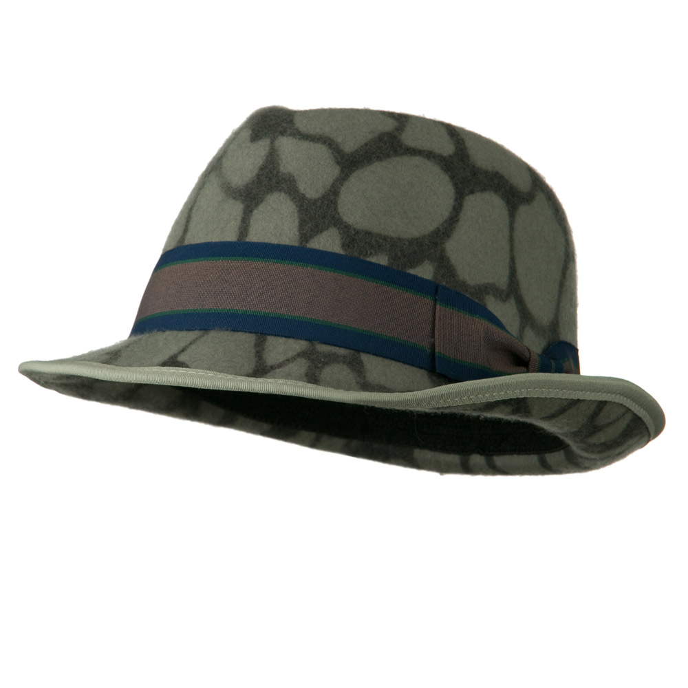 Woman's Animal Print Striped Ribbon Fedora Hat - Giraffe - Hats and Caps Online Shop - Hip Head Gear