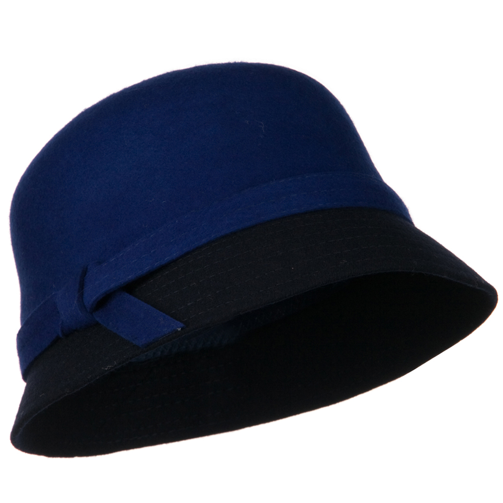 Wool Felt Two Tone Cloche Hat - Blue Navy - Hats and Caps Online Shop - Hip Head Gear