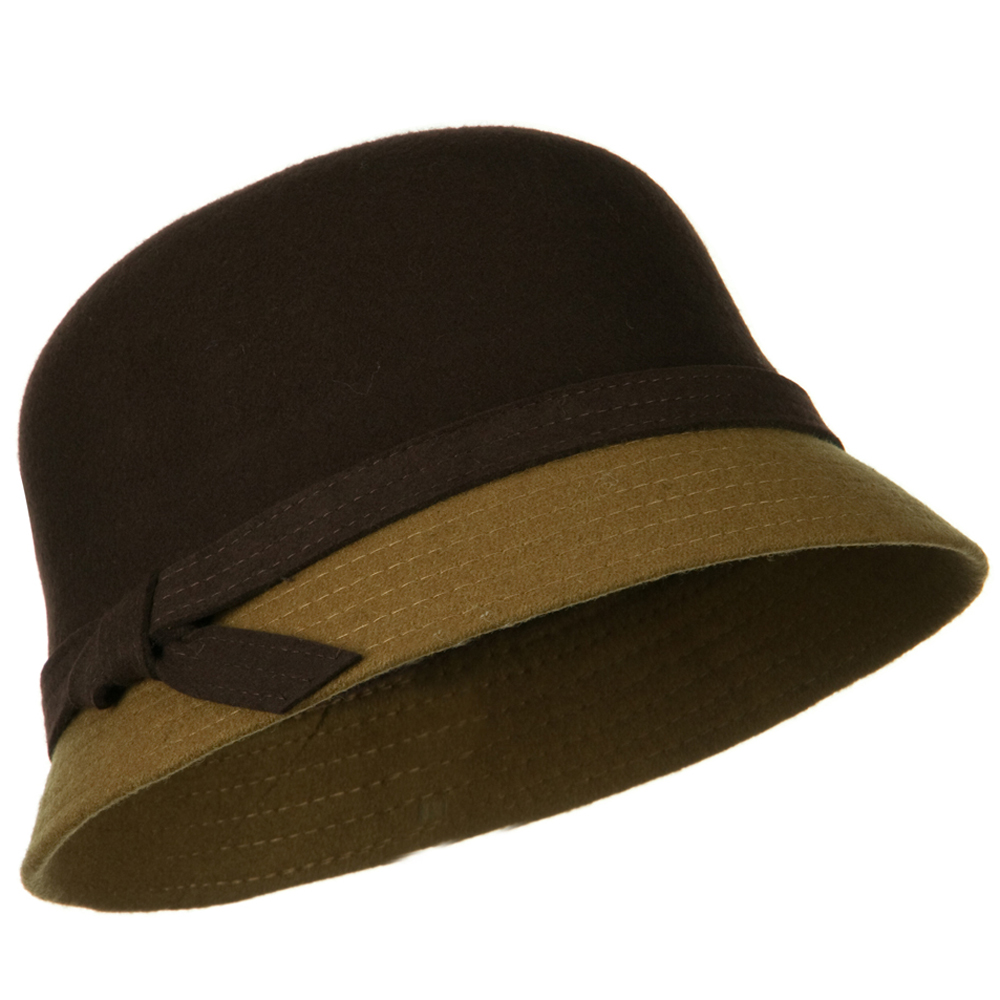 Wool Felt Two Tone Cloche Hat - Brown Light Brown - Hats and Caps Online Shop - Hip Head Gear