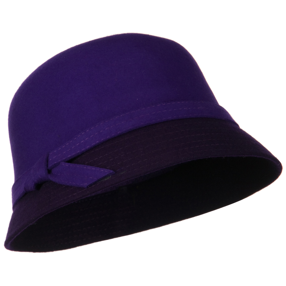 Wool Felt Two Tone Cloche Hat - Purple Dark Purple - Hats and Caps Online Shop - Hip Head Gear