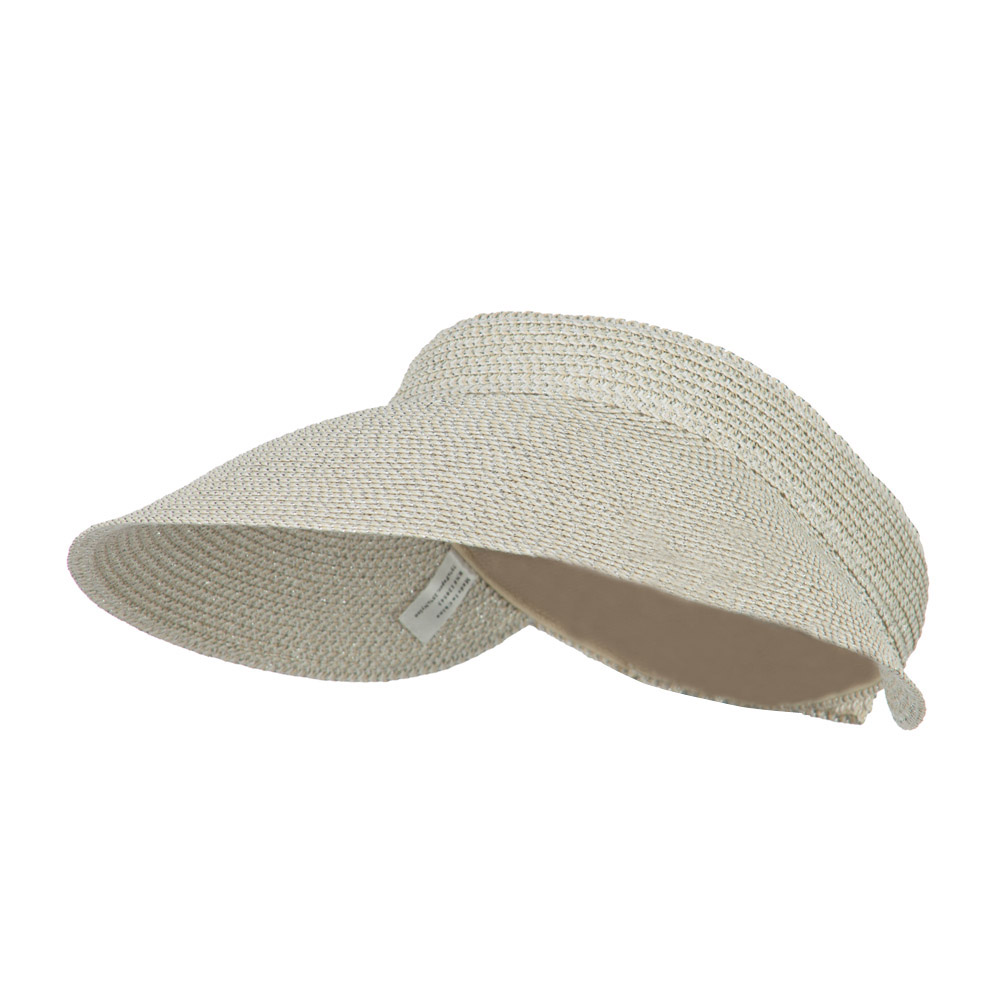 Women's UPF 50+ Metallic Poly Paper Braid Visor - White - Hats and Caps Online Shop - Hip Head Gear
