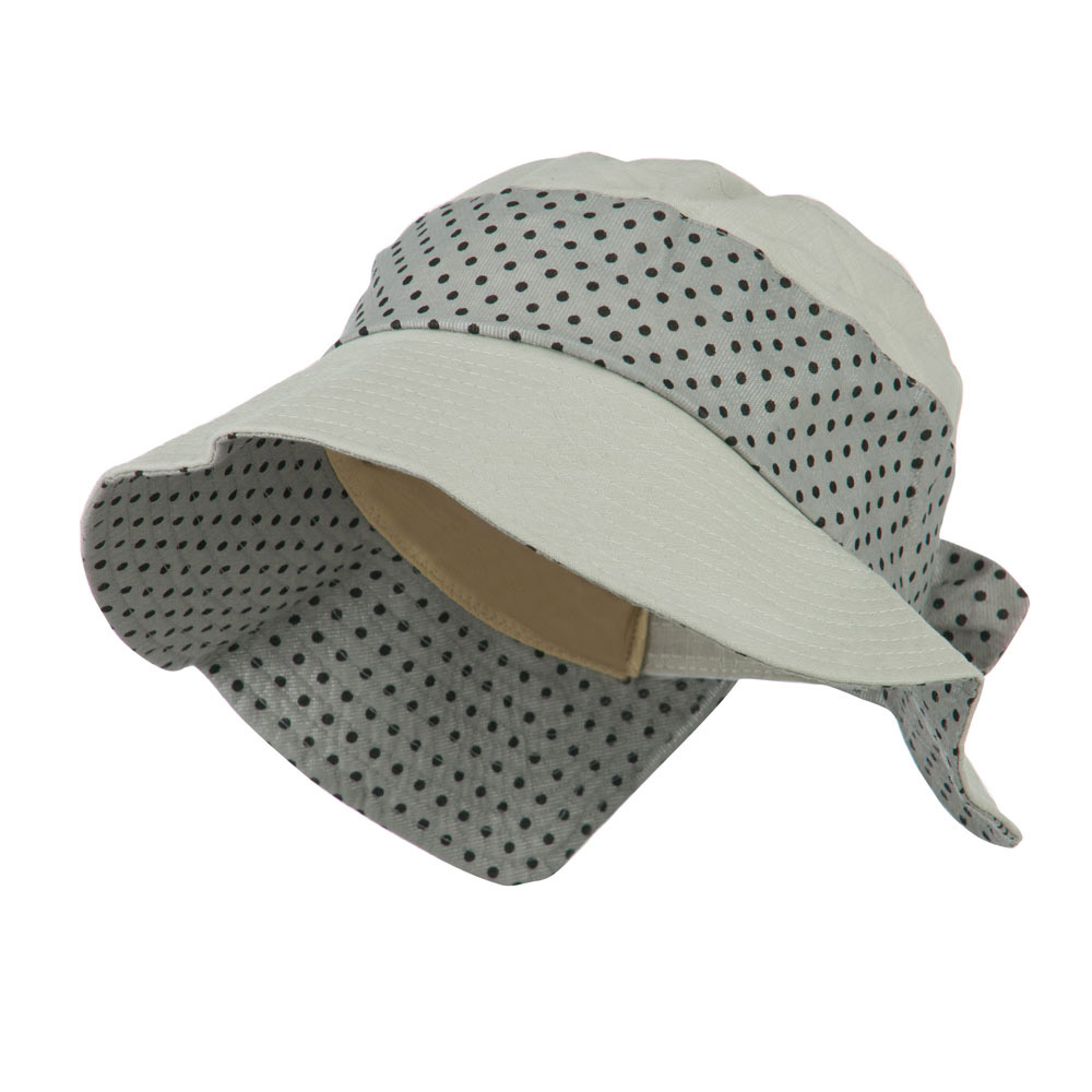 Woman's Wide Brim Polka Dot Trim Hat - Grey - Hats and Caps Online Shop - Hip Head Gear
