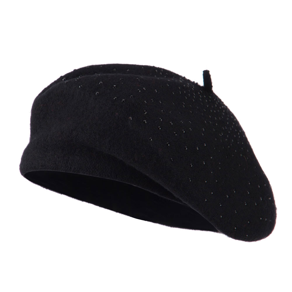 Wool Beret with Bead Spiral Design - Black - Hats and Caps Online Shop - Hip Head Gear