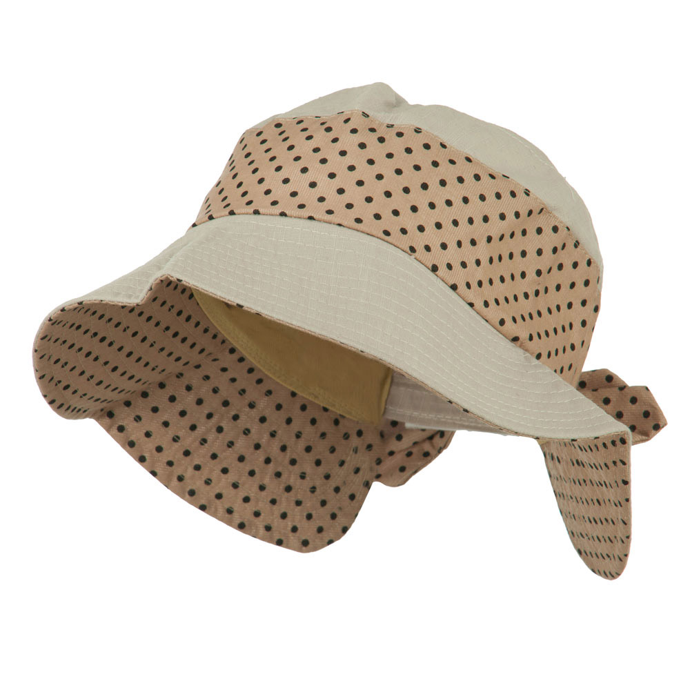 Woman's Wide Brim Polka Dot Trim Hat - Brown - Hats and Caps Online Shop - Hip Head Gear
