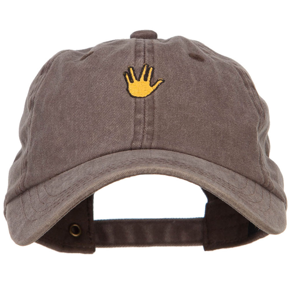 Mini Vulcan Salute Embroidered Unstructured Dyed Cap - Brown