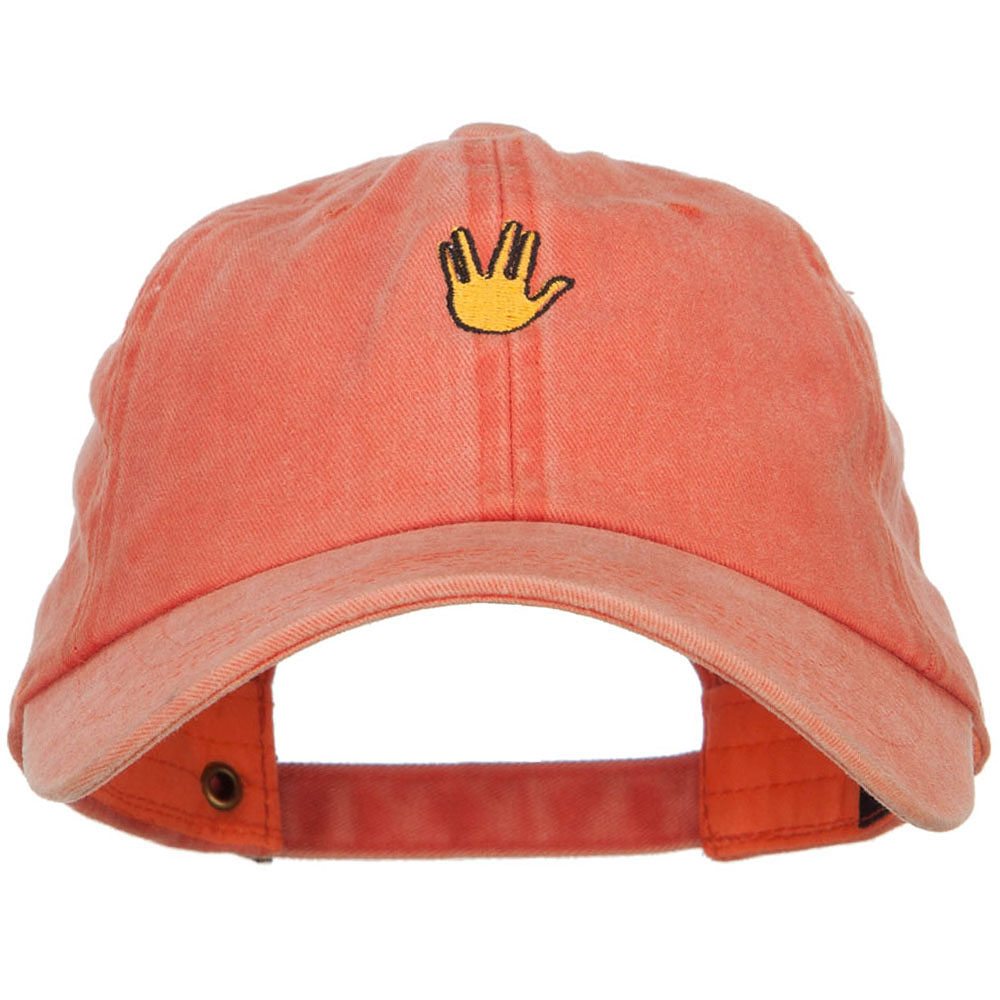 Mini Vulcan Salute Embroidered Unstructured Dyed Cap - Orange