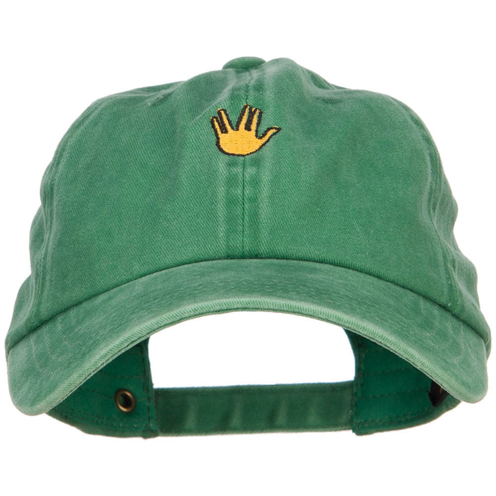 Mini Vulcan Salute Embroidered Unstructured Dyed Cap - Kelly Green
