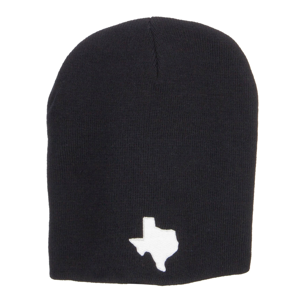 Texas Map Embroidered Big Short Beanie - Black