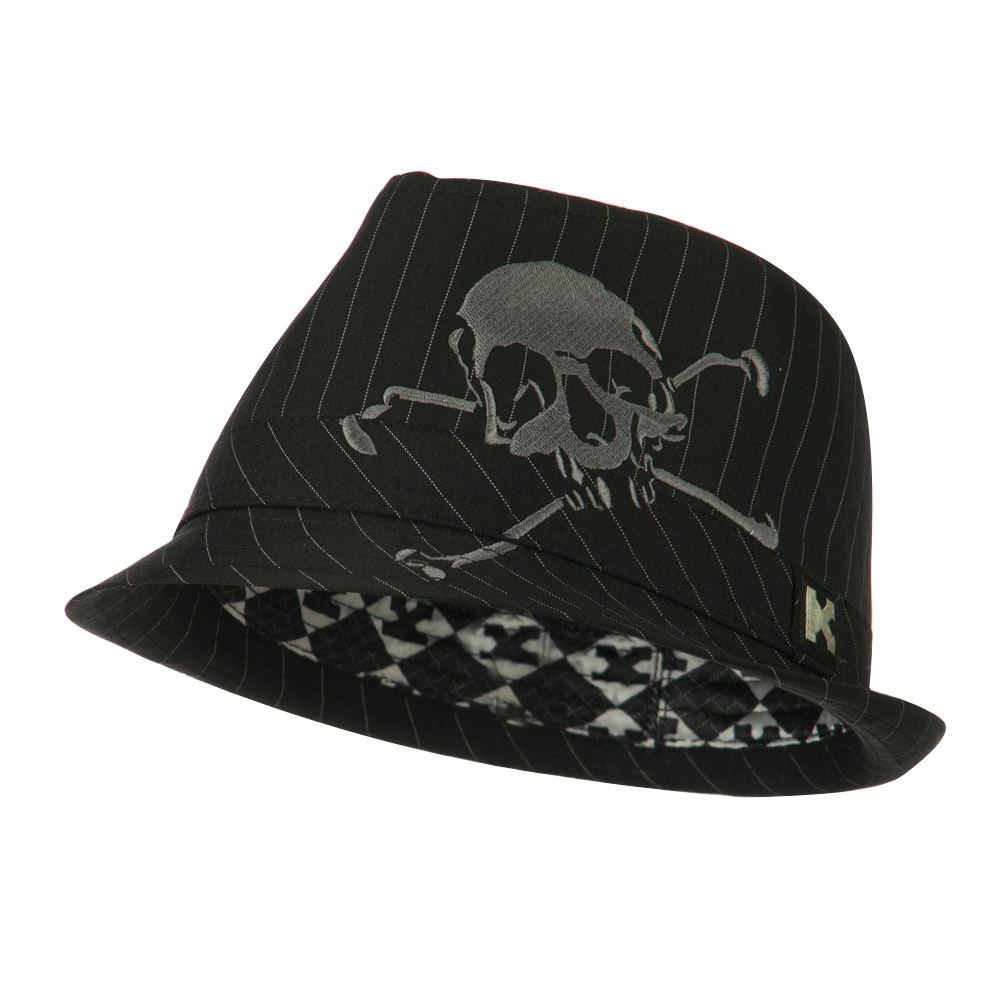 Youth Poly Cotton Fedora Hat - Black Grey - Hats and Caps Online Shop - Hip Head Gear