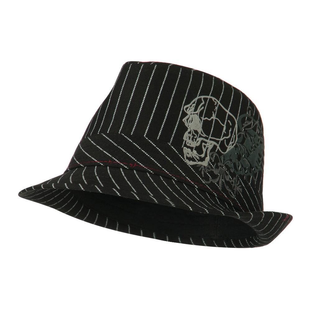 Youth Poly Cotton Fedora Hat - Black White - Hats and Caps Online Shop - Hip Head Gear