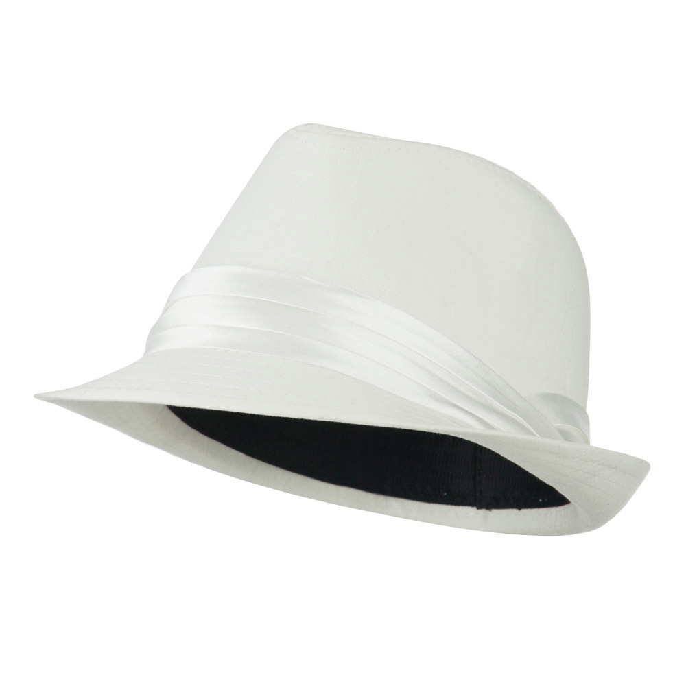 Youth Poly Cotton Fedora Hat - White - Hats and Caps Online Shop - Hip Head Gear