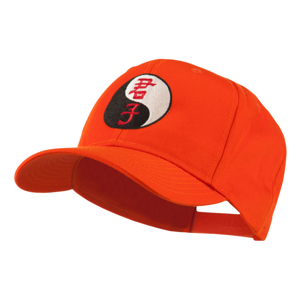Ying and Yang Symbol Chinese Embroidered Cap - Orange - Hats and Caps Online Shop - Hip Head Gear
