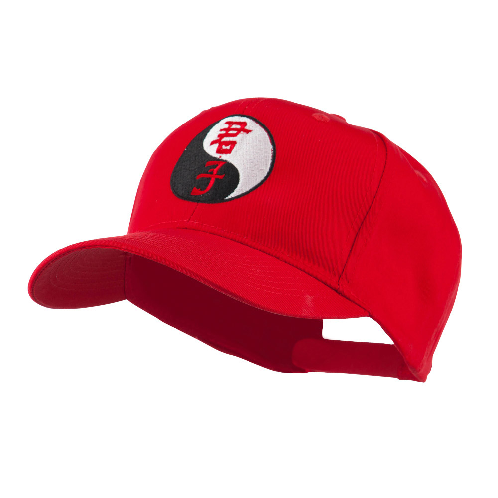 Ying and Yang Symbol Chinese Embroidered Cap - Red - Hats and Caps Online Shop - Hip Head Gear