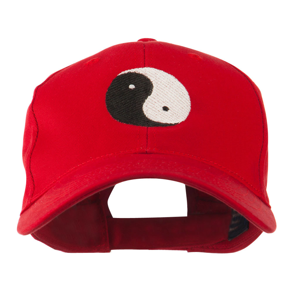 Traditional Chinese Symbol Yin and Yang Embroidered Cap - Red