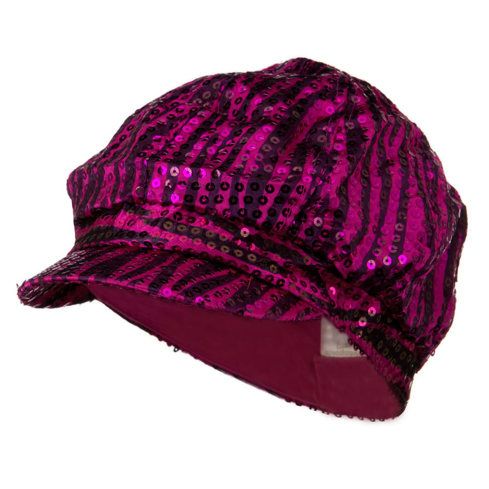 Zebra Sequin Newsboy Cap - Fuchsia Black - Hats and Caps Online Shop - Hip Head Gear