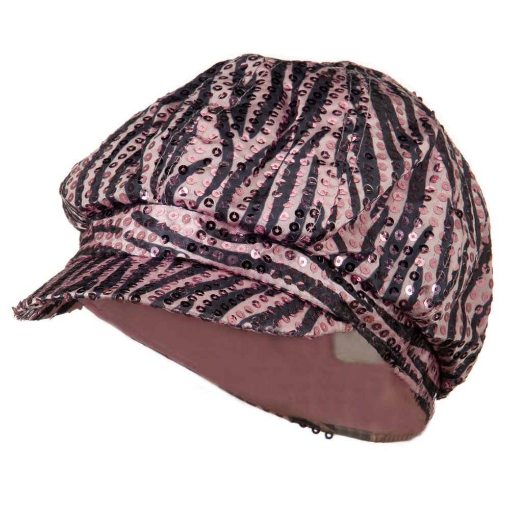 Zebra Sequin Newsboy Cap - Pink Black - Hats and Caps Online Shop - Hip Head Gear