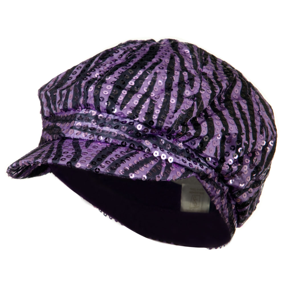 Zebra Sequin Newsboy Cap - Purple Black - Hats and Caps Online Shop - Hip Head Gear