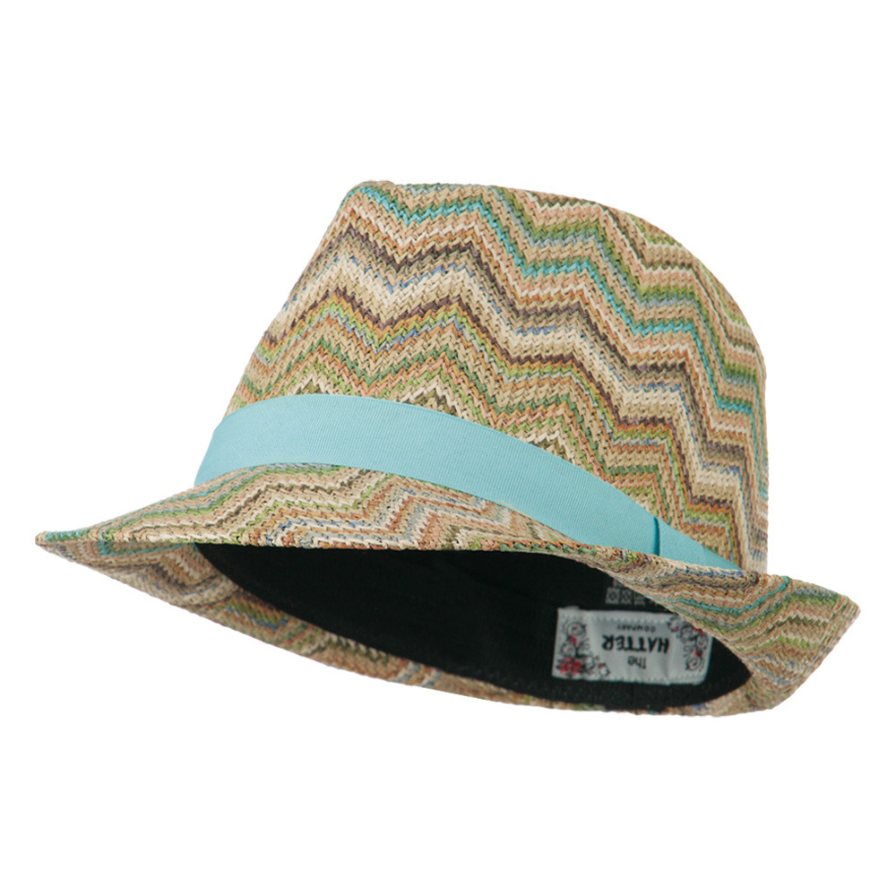 Multi Color Zigzag Design Fedora - Tan - Hats and Caps Online Shop - Hip Head Gear