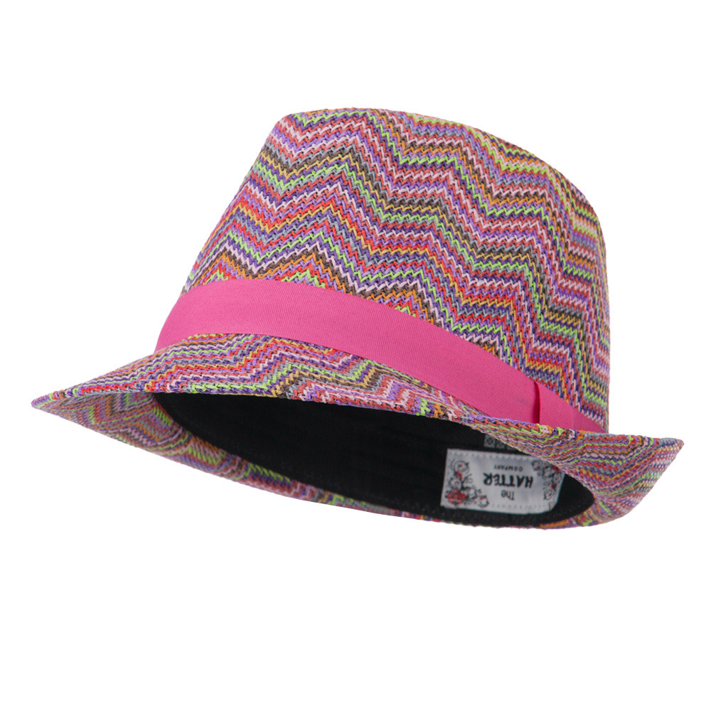 Multi Color Zigzag Design Fedora - Pink - Hats and Caps Online Shop - Hip Head Gear