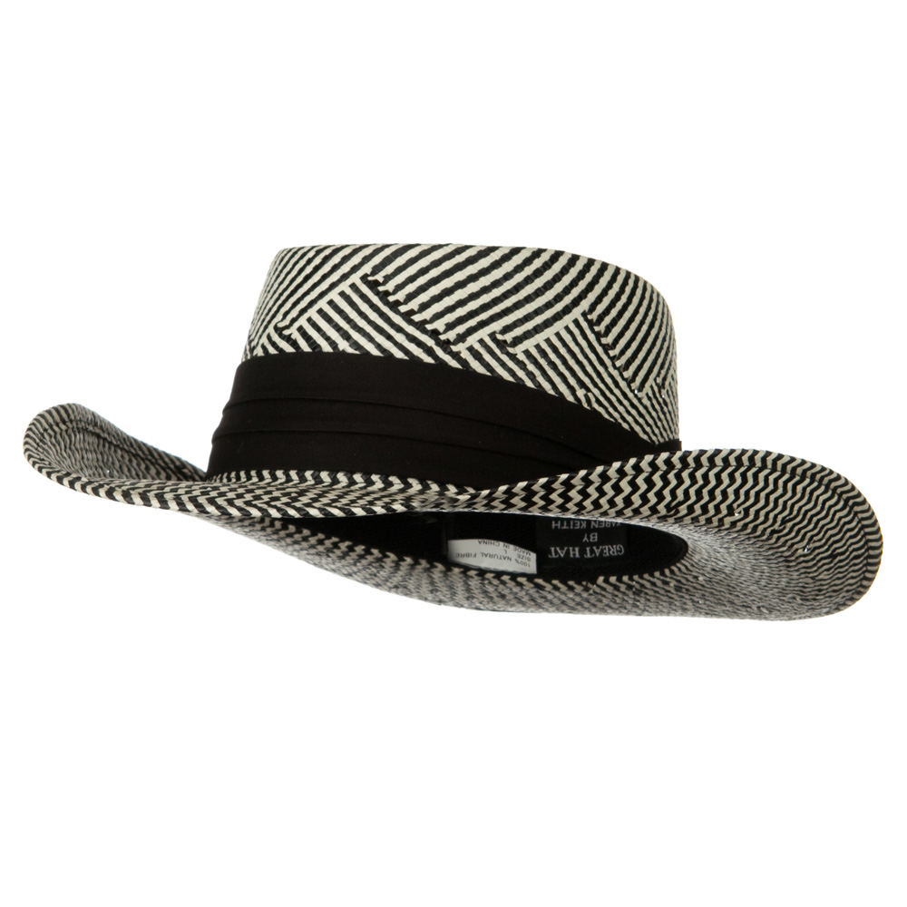 Gambler Zigzag Woven Hat - Black White - Hats and Caps Online Shop - Hip Head Gear