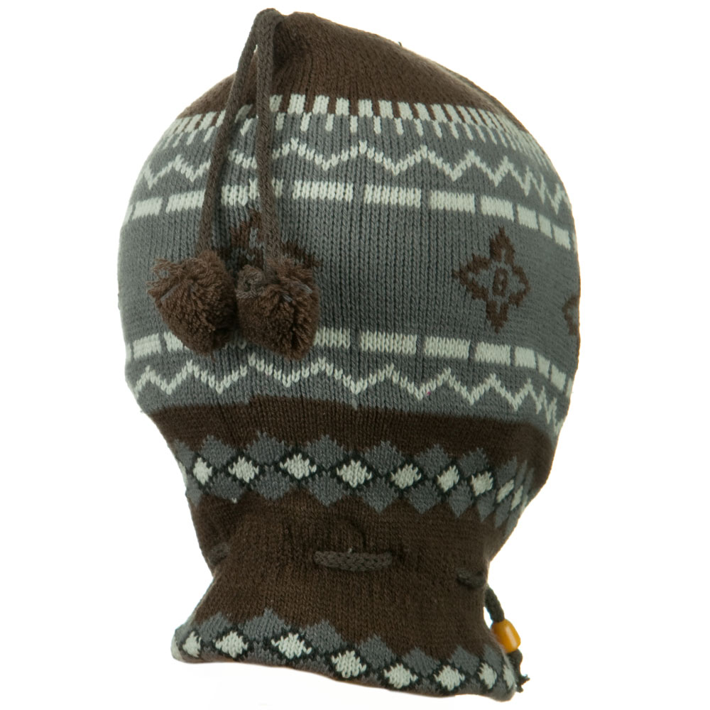 Children Zigzag Pattern Ski Mask - Brown - Hats and Caps Online Shop - Hip Head Gear