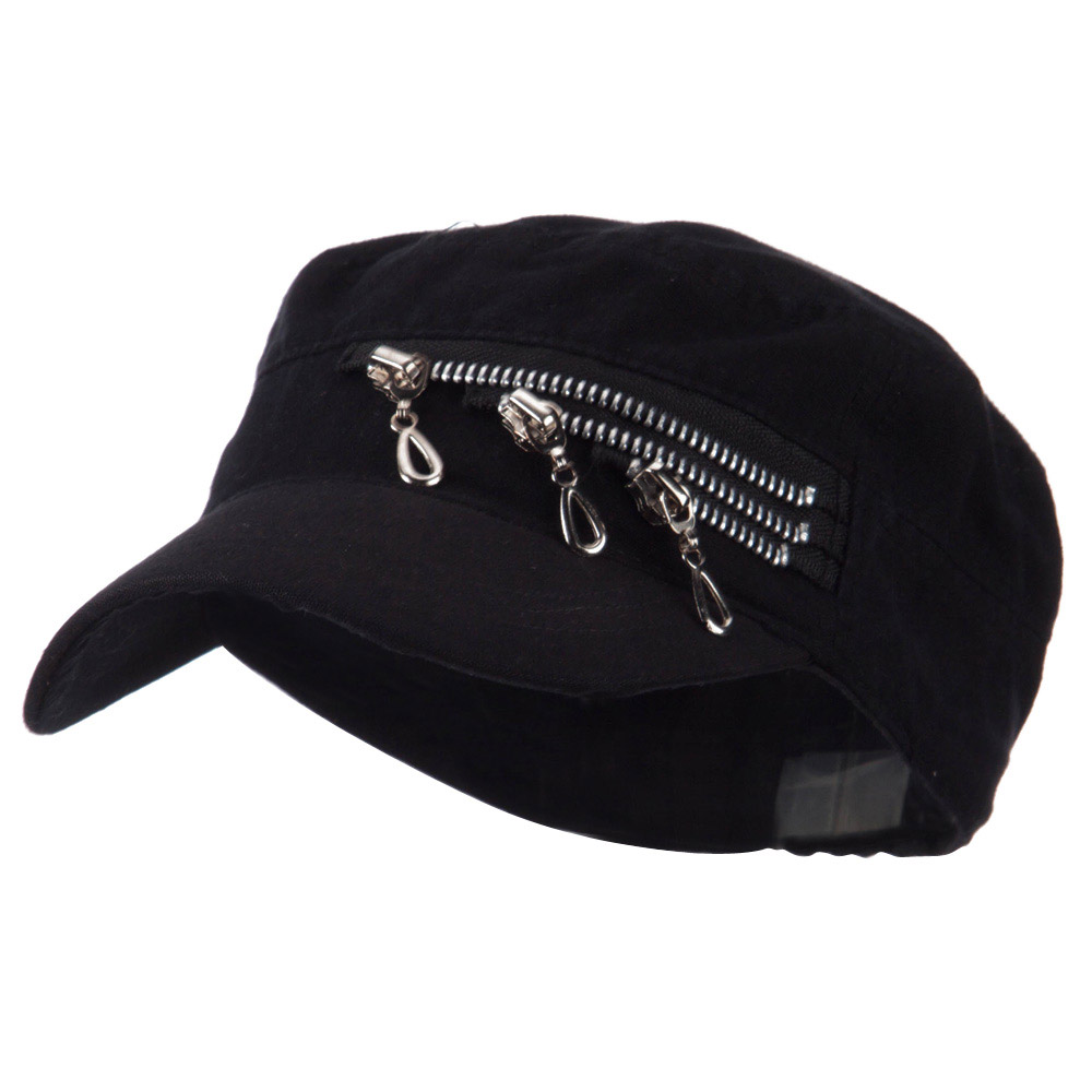 Three Layer Zippered Army Cap - Black - Hats and Caps Online Shop - Hip Head Gear