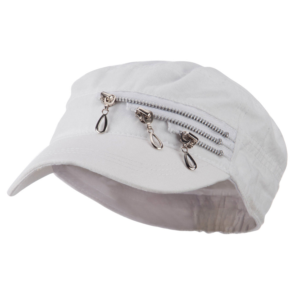 Three Layer Zippered Army Cap - White - Hats and Caps Online Shop - Hip Head Gear