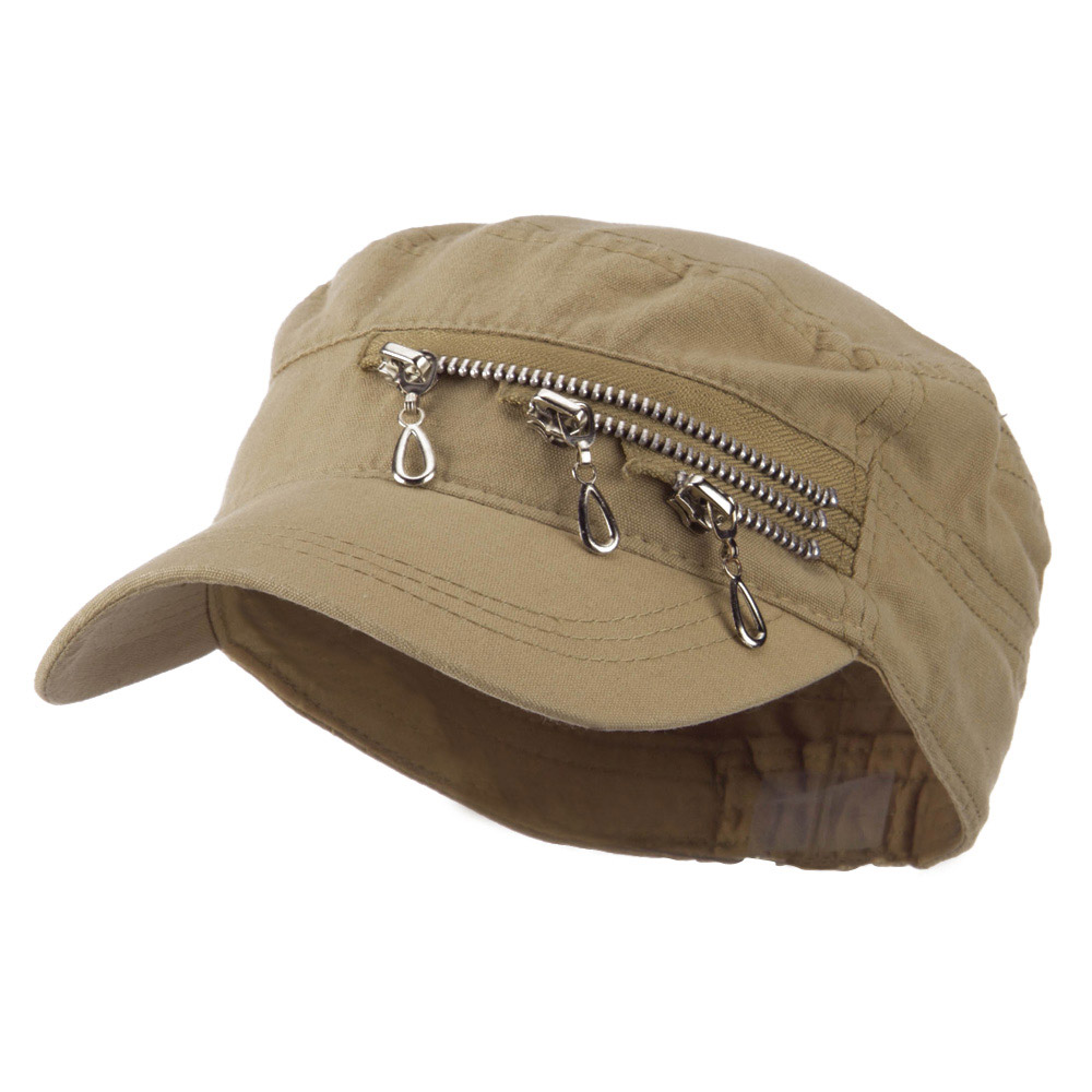 Three Layer Zippered Army Cap - Tan - Hats and Caps Online Shop - Hip Head Gear