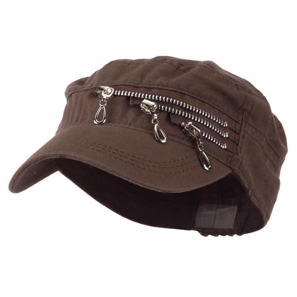 Three Layer Zippered Army Cap - Brown - Hats and Caps Online Shop - Hip Head Gear