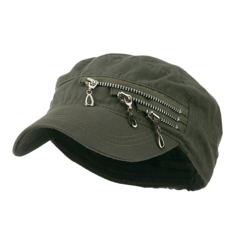Three Layer Zippered Army Cap - Olive - Hats and Caps Online Shop - Hip Head Gear