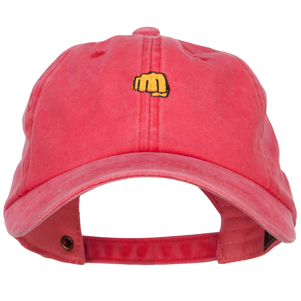 Mini Fist Pound Embroidered Unstructured Dyed Cap - Red