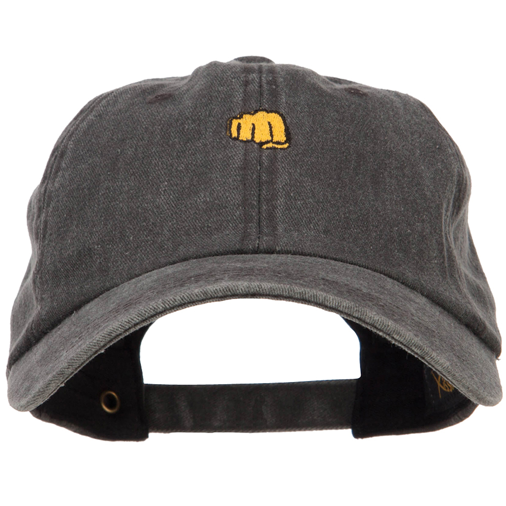 Mini Fist Pound Embroidered Unstructured Dyed Cap - Black