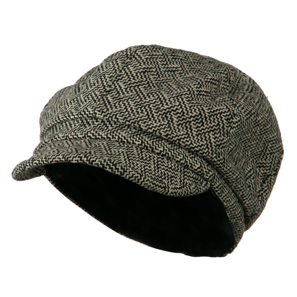 Zig Zag Tweed Newsboy Cap - Black White - Hats and Caps Online Shop - Hip Head Gear