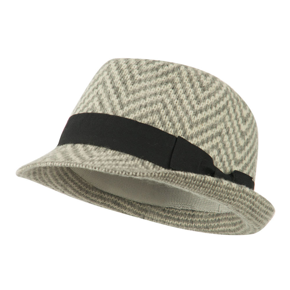 Women's Zig Zag Designed Ribbon Band Fedora - Grey - Hats and Caps Online Shop - Hip Head Gear