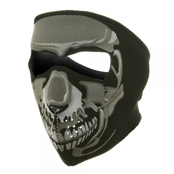 Neoprene Full Face Mask - Chrome Skull