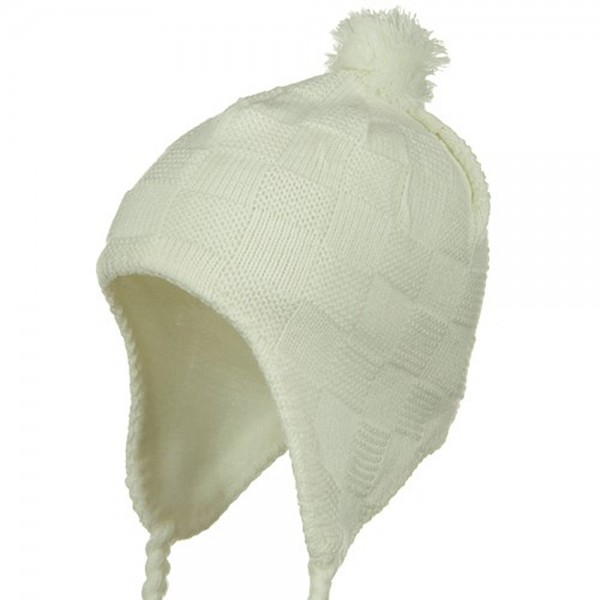 Solid Checker Design Knit Hat - Ivory