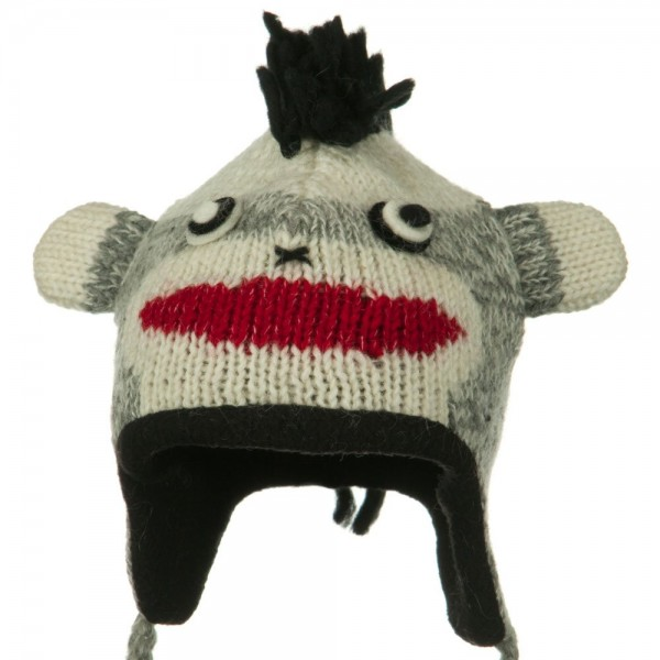 Toddler Animal Wool Ski Hat - Mohawk Punk Monkey