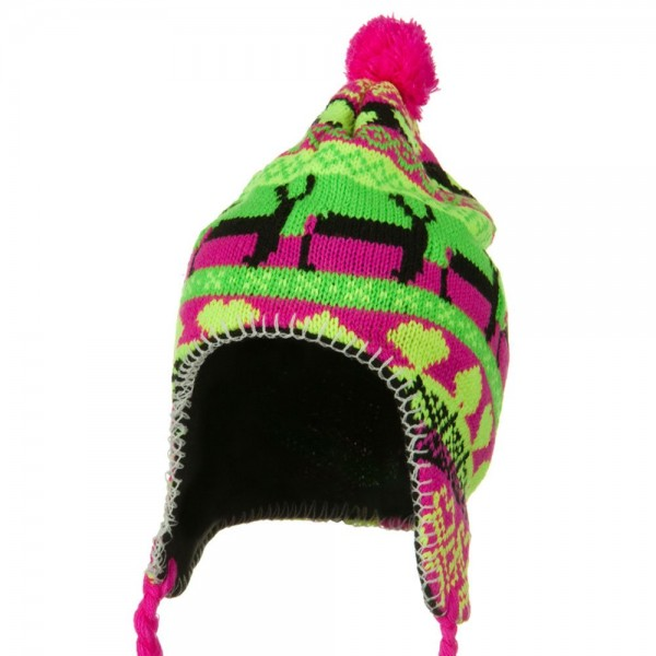 Neon Ear Cover Deer Knit Hat - Fuchsia