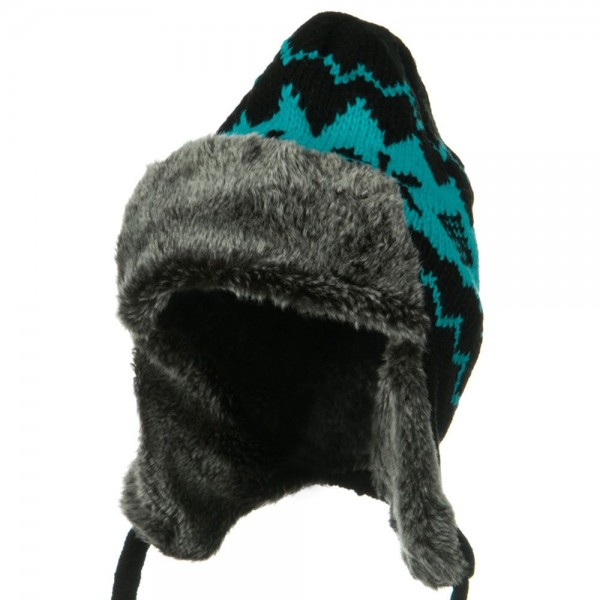 New Pattern Knit Trooper Hat - Blue Black