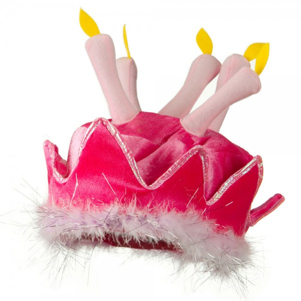 Birthday Cake Hat with Boa - Pink