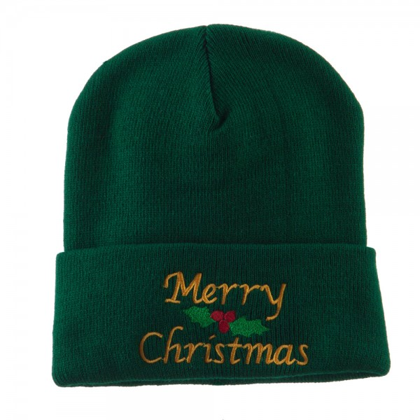 Merry Christmas Embroidered Long Beanie - Green