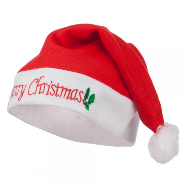 Flashing Lite up Merry Christmas Santa Hat - Red